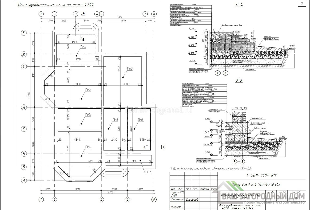 План фундаментной плиты на отметки -0.200