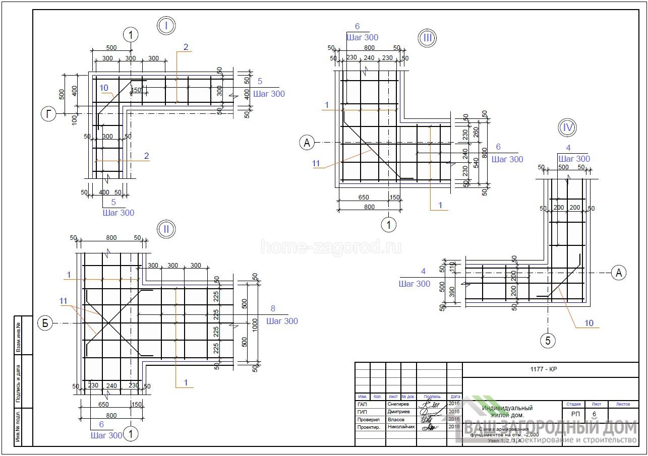 Схема армирования фундамента на отметки – 2.000, узел 1, 2, 3, 4