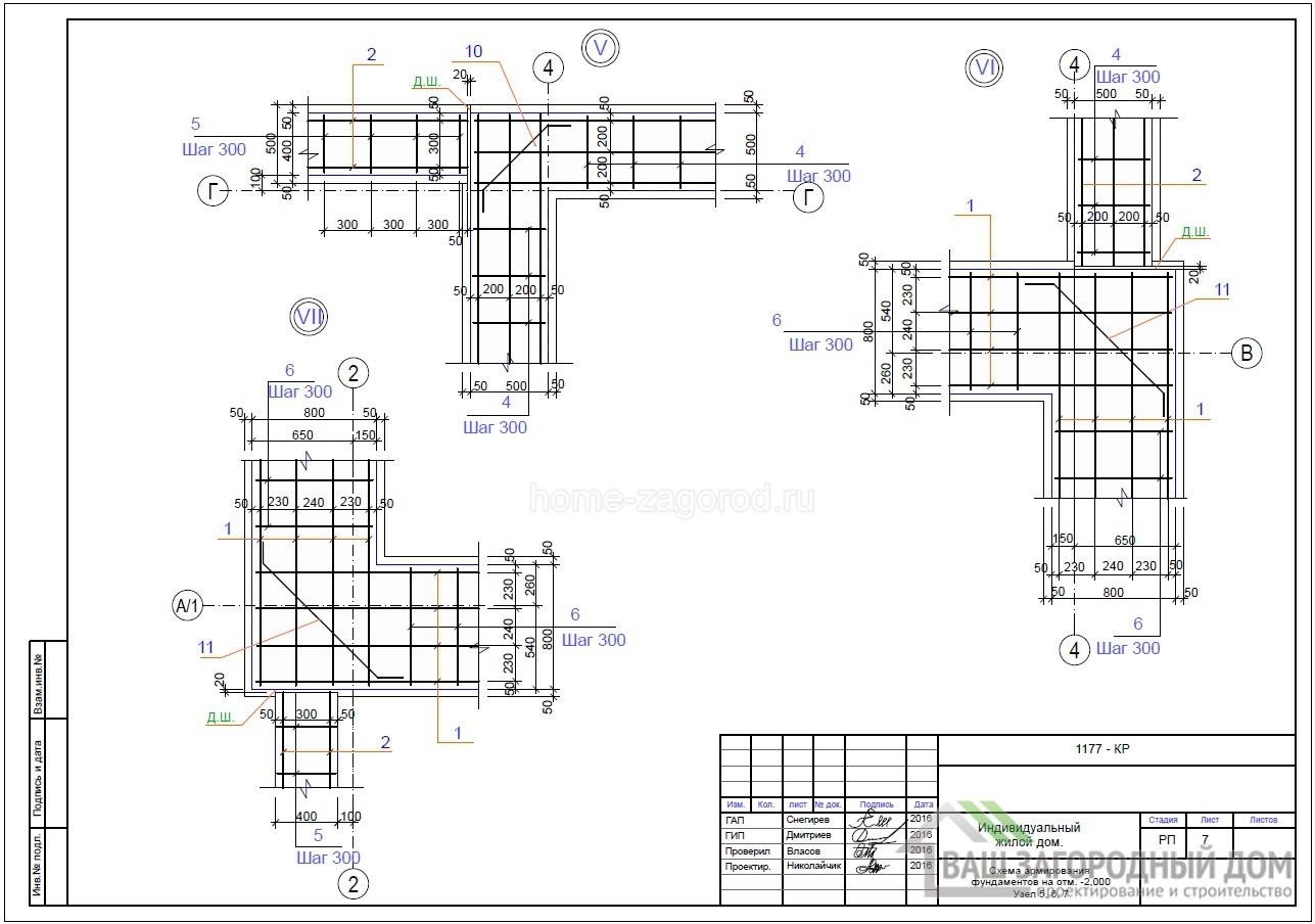 Схема армирования фундамента на отметки – 2.000, узел 5, 6, 7, 8