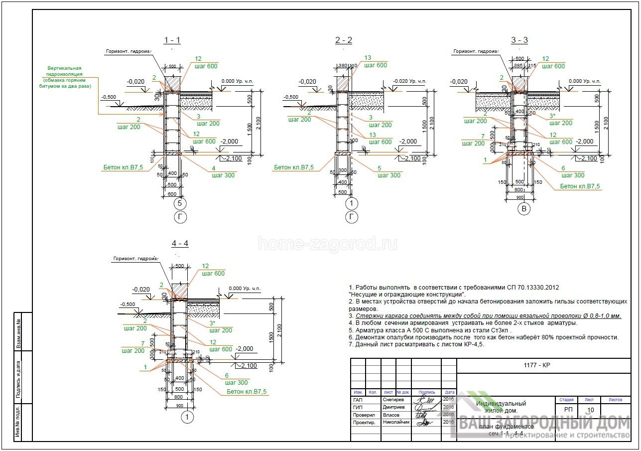 План фундамента сечение 1-1….4-4