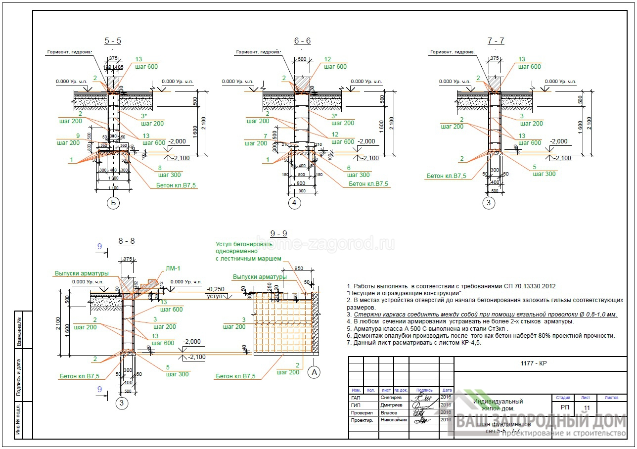 План фундамента сечение 5-5….7-7