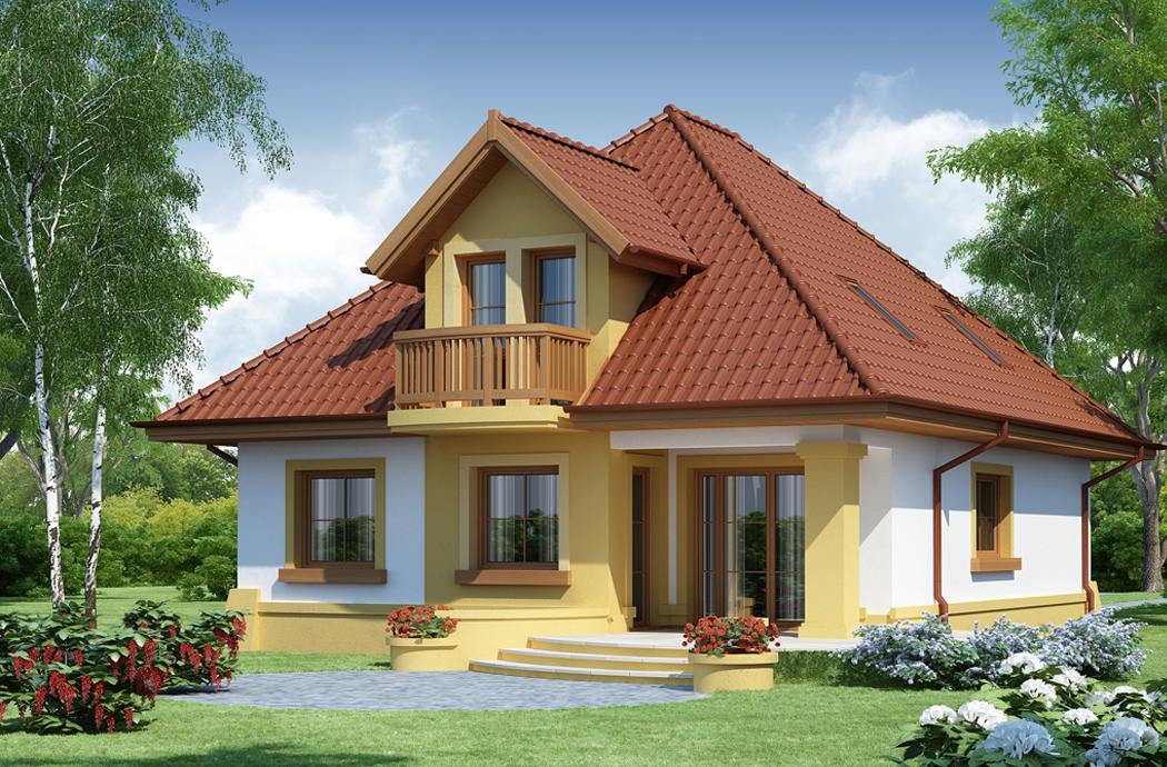 Проект одноэтажного дома с мансардой и гаражом 189м2 вид сзади