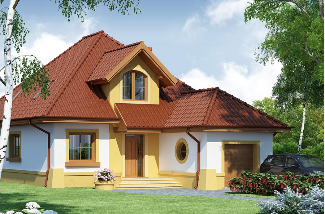 Дизайн одноэтажного дома с мансардой и гаражом 189м2