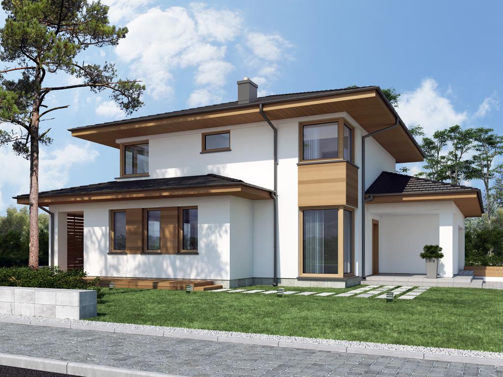 Дизайн дома, площадью 224 м2 в стиле прерий, вид сзади