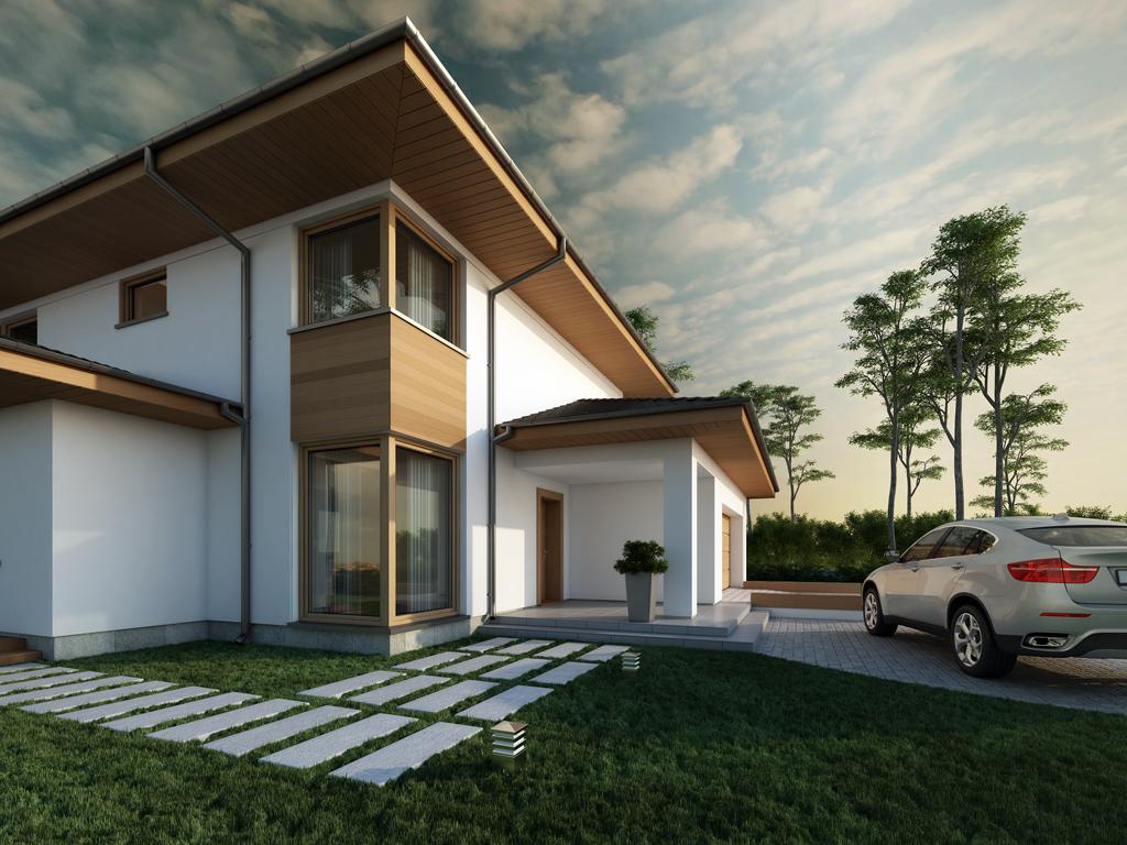 Дизайн дома, площадью 224 м2 в стиле прерий, вид с боку
