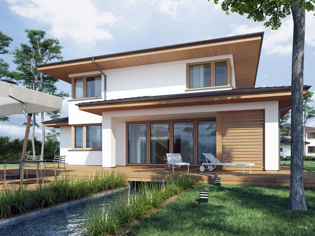Дизайн дома, площадью 224 м2 в стиле прерий, вид на веранду