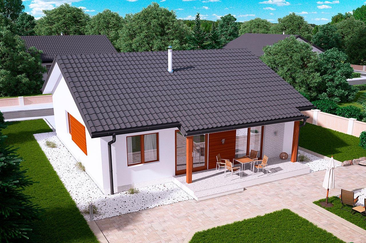 Проект одноэтажного дома 84 м2 -вид 4