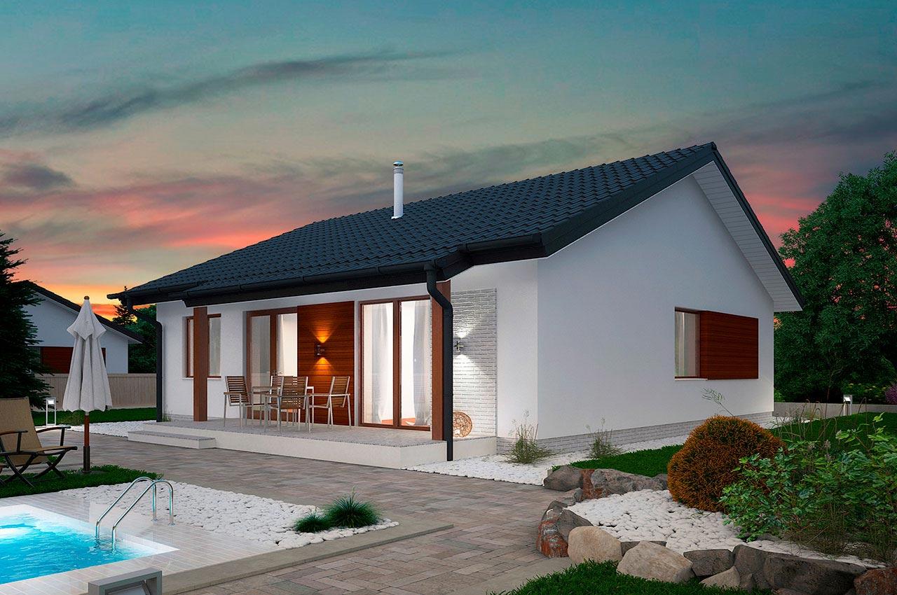 Проект одноэтажного дома 84 м2 -вид 1