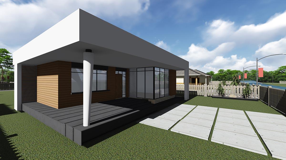 Строительство одноэтажного дома, площадью 94 м2 в стиле хай-тек, вид спереди