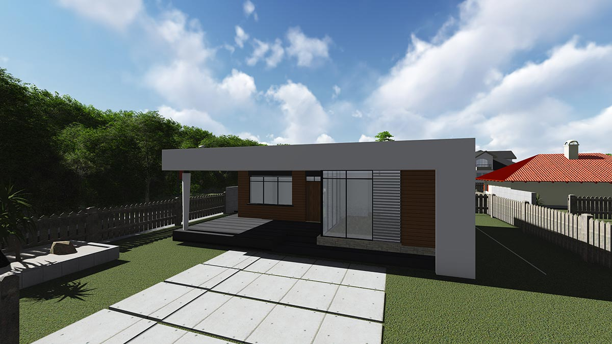 Строительство одноэтажного дома, площадью 94 м2 в стиле хай-тек, вид спереди и на участок