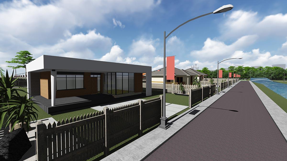 Строительство одноэтажного дома, площадью 94 м2 в стиле хай-тек, вид с улицы