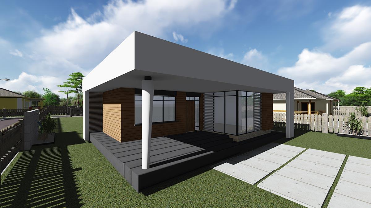 Строительство одноэтажного дома, площадью 94 м2 в стиле хай-тек, на крыльцо