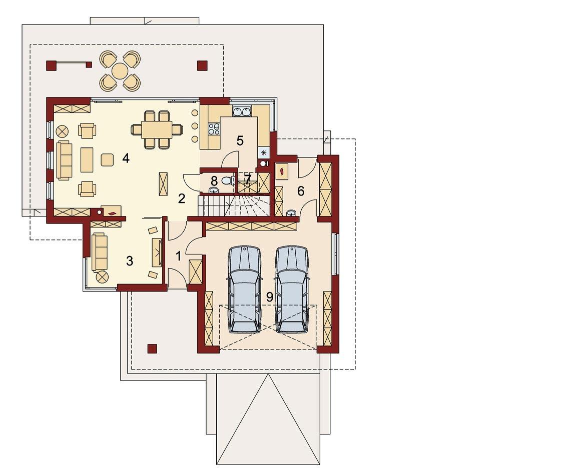 Проект дома, площадью 224 м2 в стиле прерий, вид 1го этажа