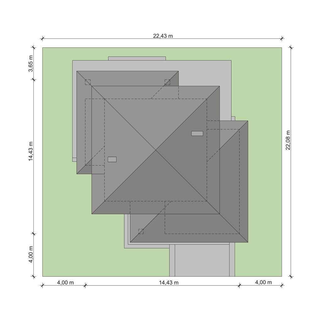 Проект дома, площадью 224 м2 в стиле прерий, вид сверху