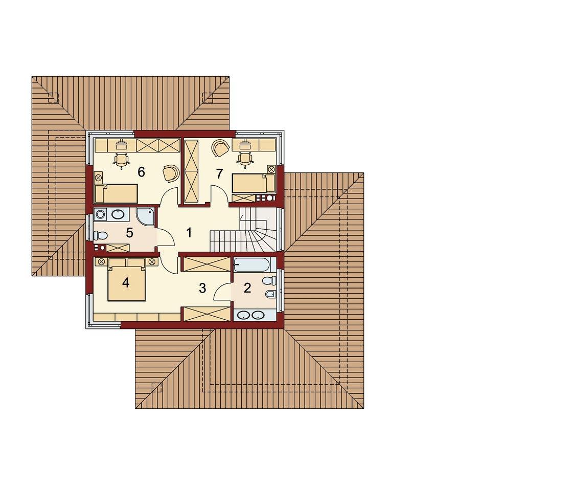 Проект дома, площадью 224 м2 в стиле прерий, вид 2го этажа