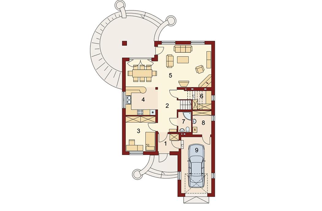 План первого этажа одноэтажного дома 189м2