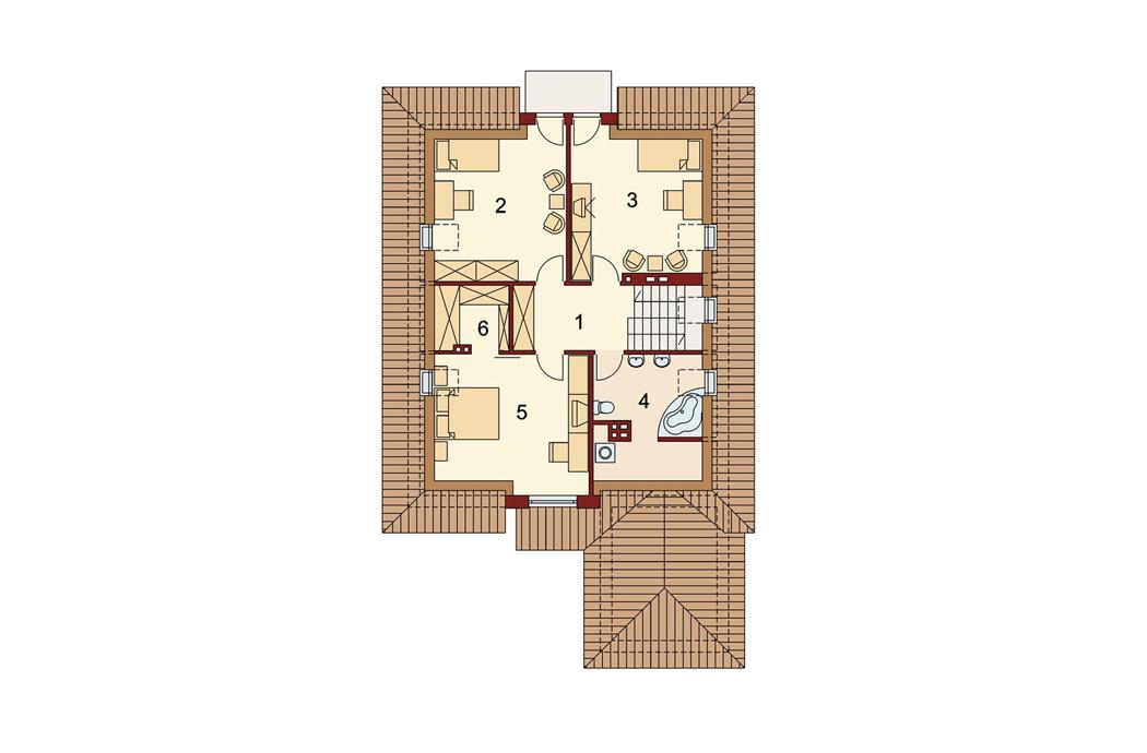 План мансардного этажа одноэтажного дома с мансардой 189м2