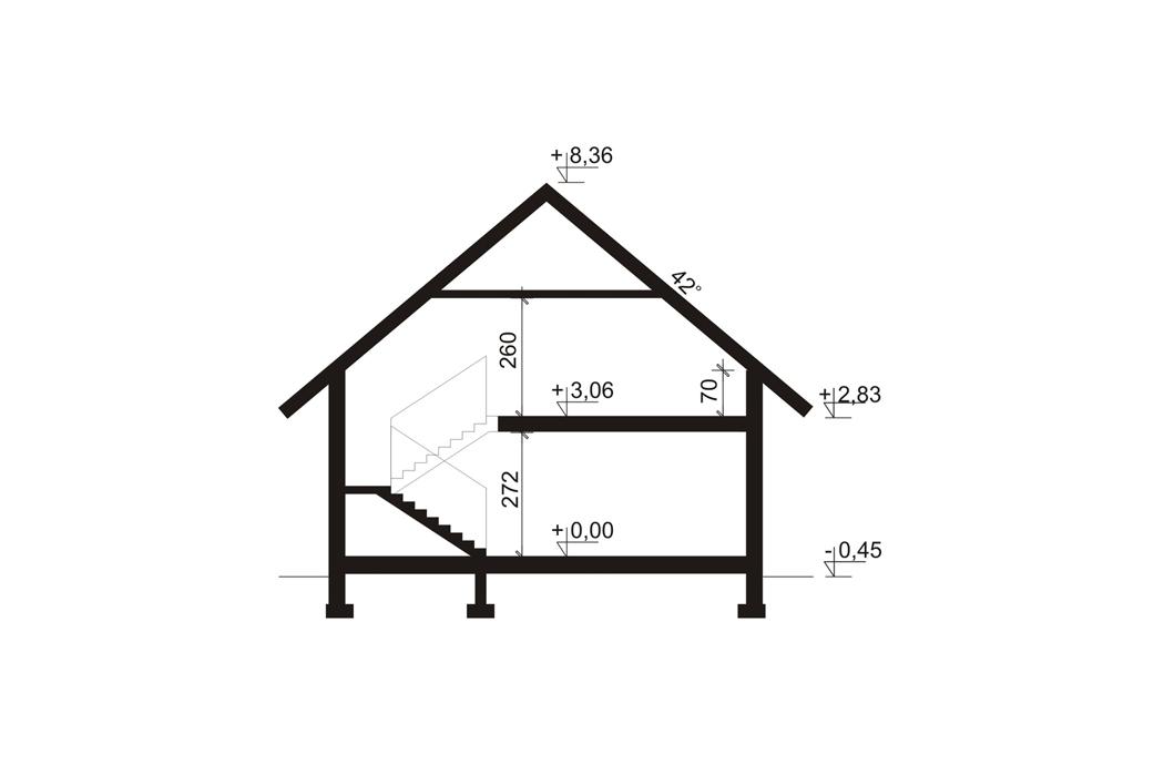 План одноэтажного дома с мансардой и гаражом 189м2 в разрезе