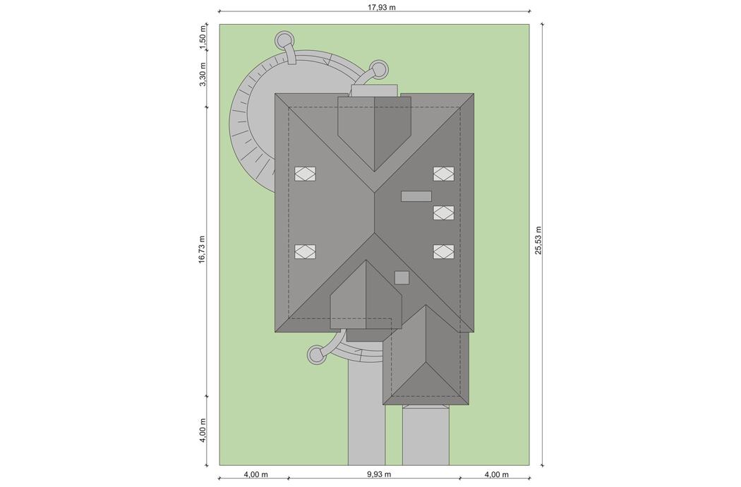 План одноэтажного дома с мансардой и гаражом 189м2 вид сверху