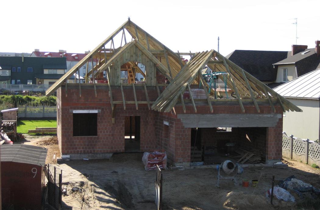 Строительство одноэтажного дома с мансардой 189м2 монтаж крыши