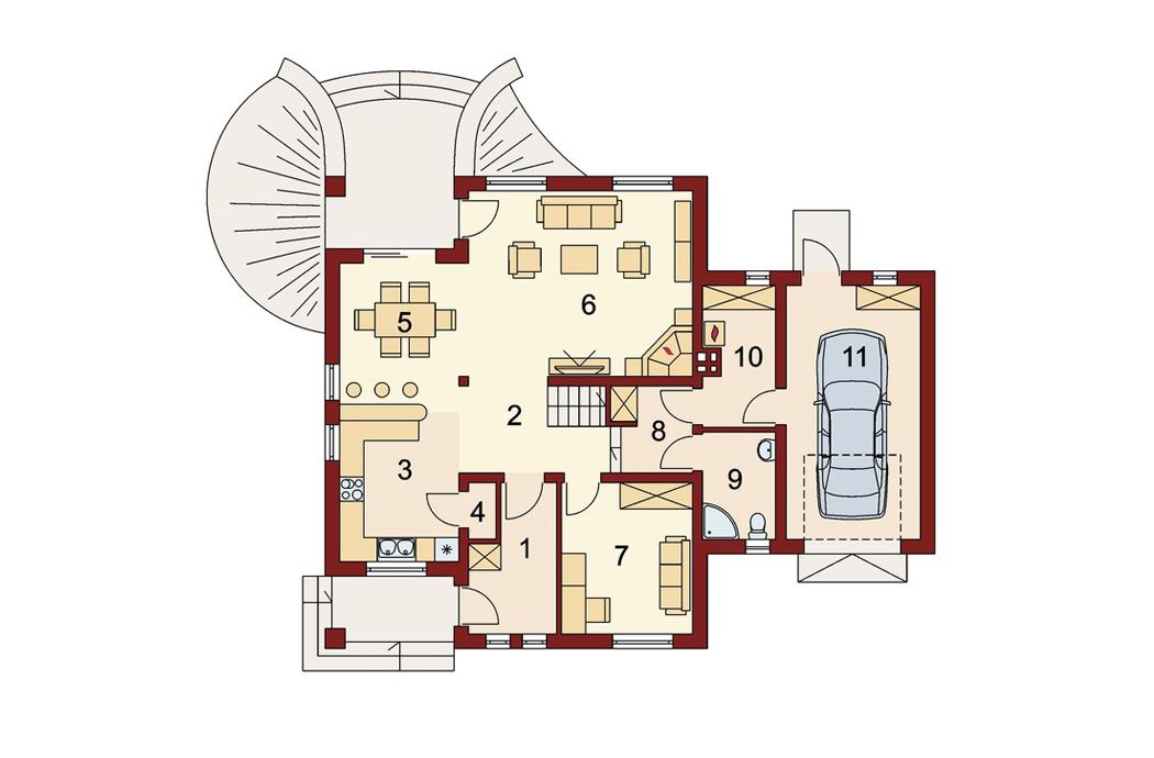 План первого этажа одноэтажного дома 205м2