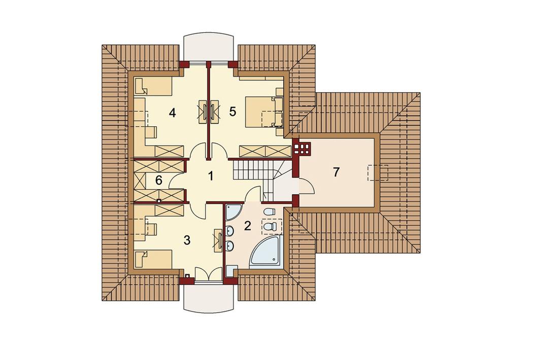План мансардного этажа одноэтажного дома 205м2