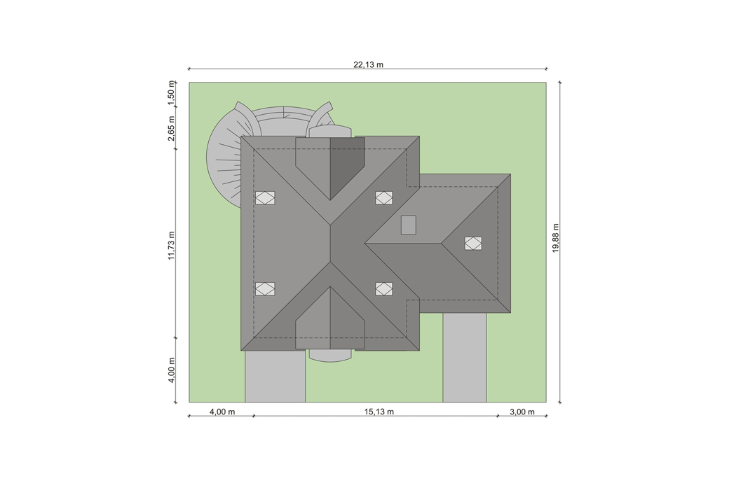 План одноэтажного дома с мансардой 205м2 вид сверху