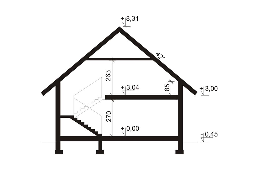 План одноэтажного дома с мансардой 205 м2 в разрезе