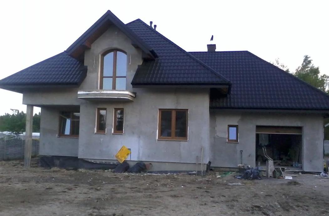 Строительство одноэтажного дома с мансардой 205м2 вид спереди