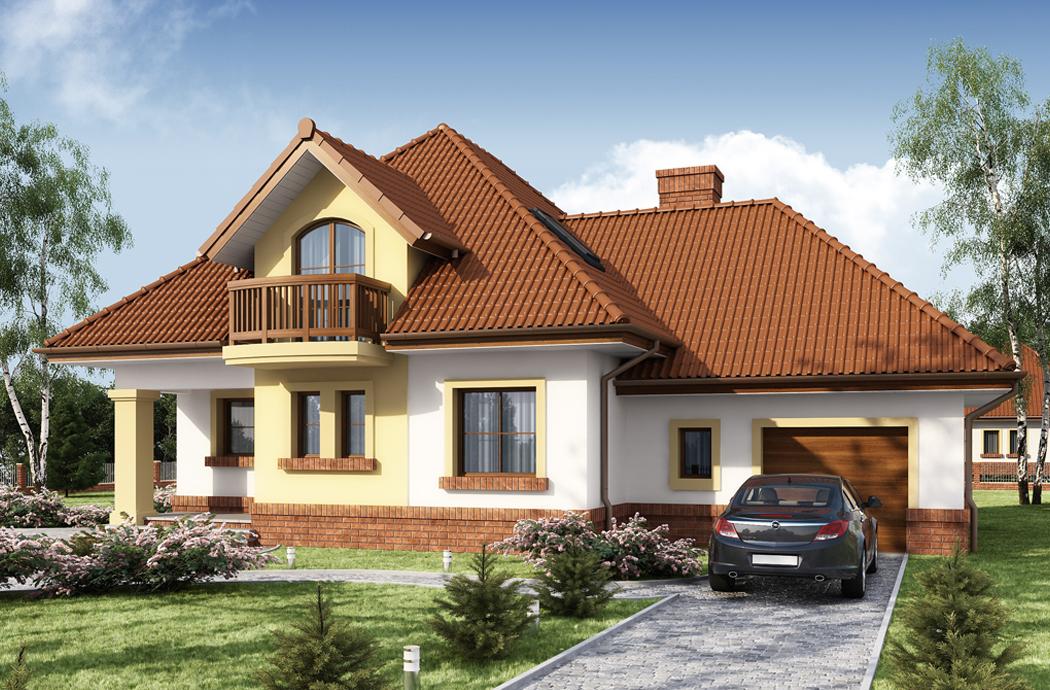 Дизайн одноэтажного дома с мансардой 205м2 Вид на гараж