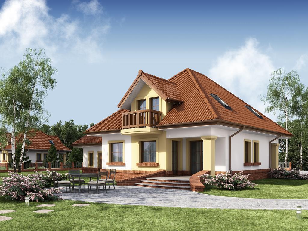 Дизайн одноэтажного дома с мансардным этажом 205 м2 вид на крыльцо
