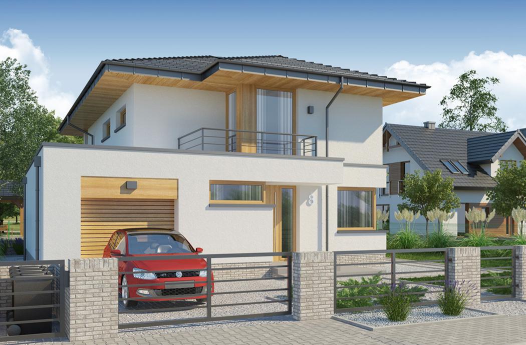 Дизайн двухэтажного дома, площадью 181 м2, вид на гараж