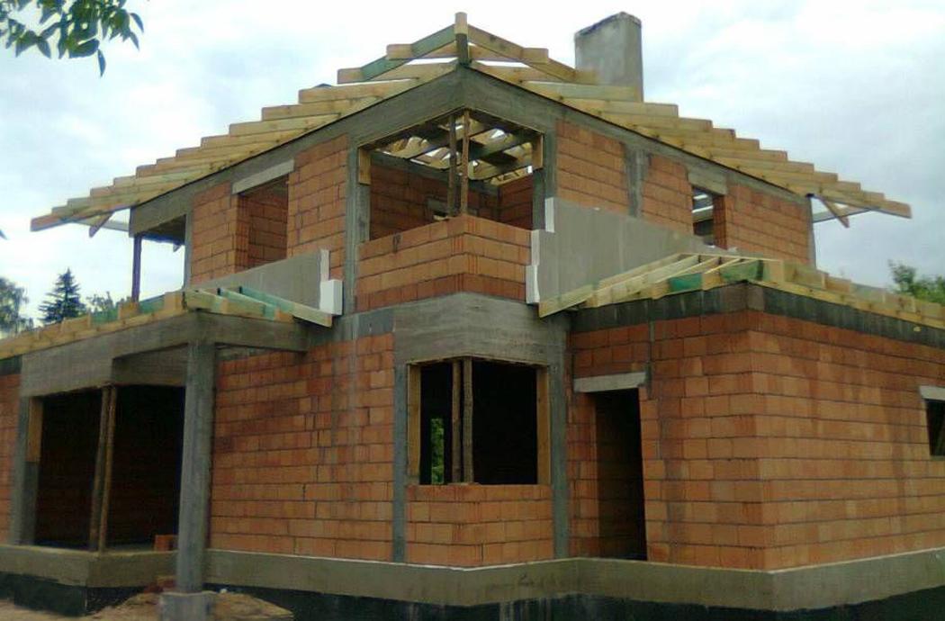 Строительство двухэтажного дома, площадью 181 м2, вид спереди