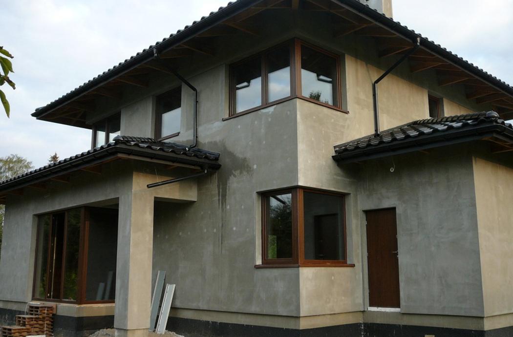 Строительство двухэтажного дома, площадью 181 м2, угловой вид