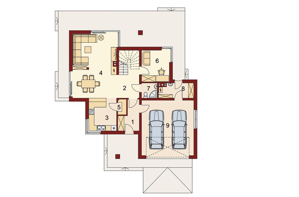 Проект двухэтажного дома, площадью 181 м2, первый этаж