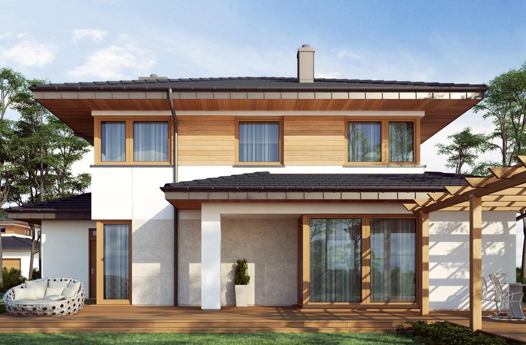 Дизайн двухэтажного дома, площадью 181 м2, вид на крыльцо