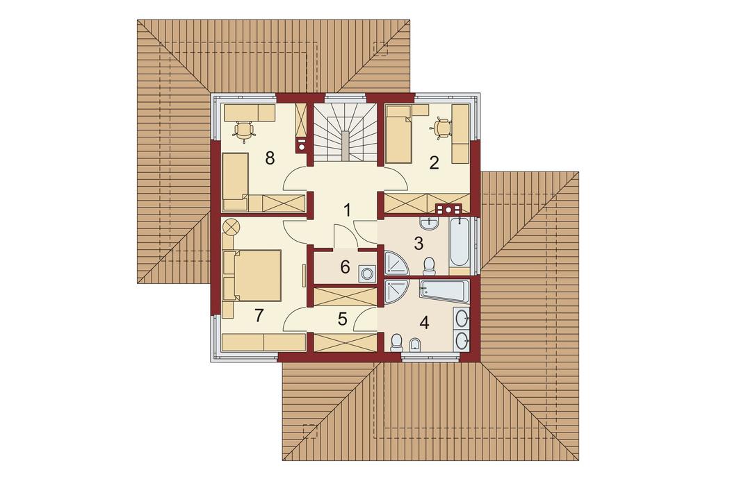 Проект двухэтажного дома, площадью 181 м2, второй этаж