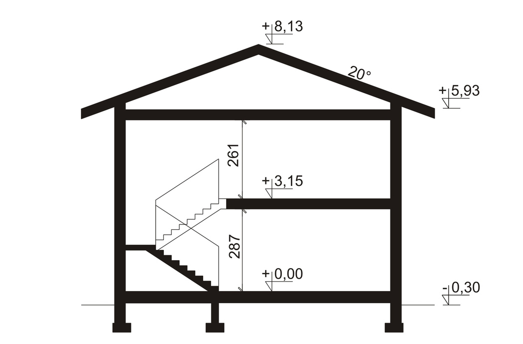 Проект двухэтажного дома, площадью 181 м2, вид сбоку