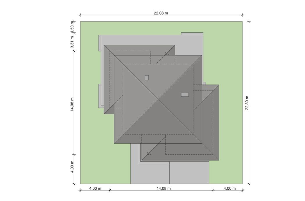 Проект двухэтажного дома, площадью 181 м2, вид сверху