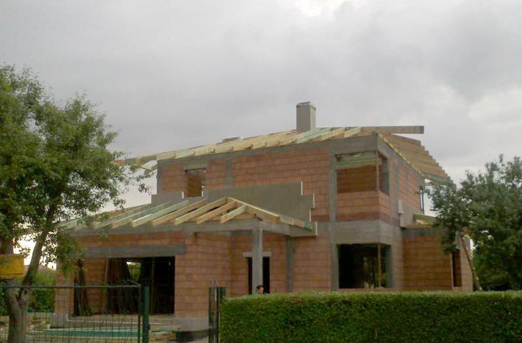 Строительство одноэтажного дома, площадью 181 м2, установка крыши