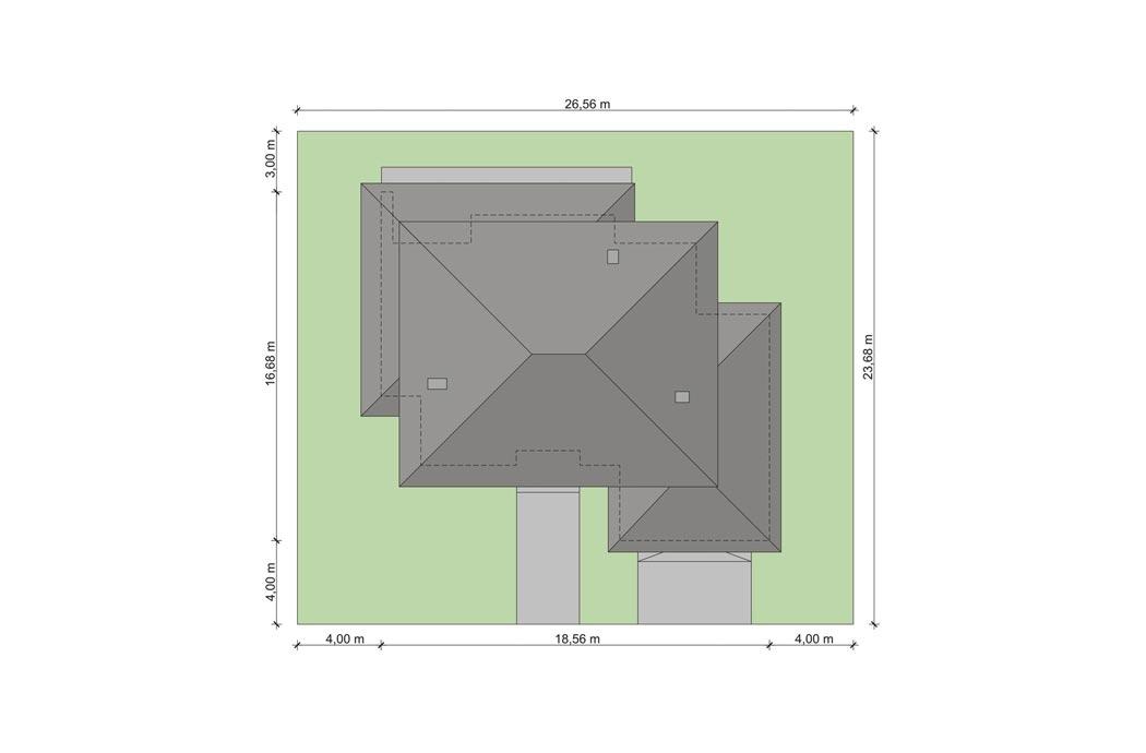 План одноэтажного дома 278м2, в разрезе