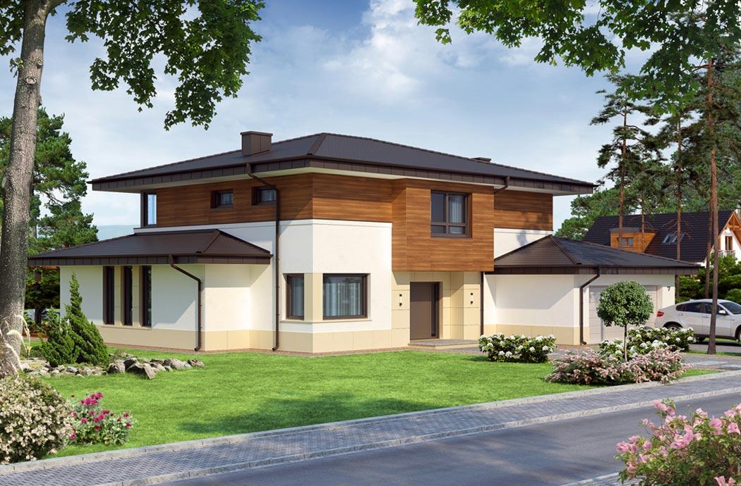 Дизайн одноэтажного дома 278м2 с мансардой и гаражом общий вид