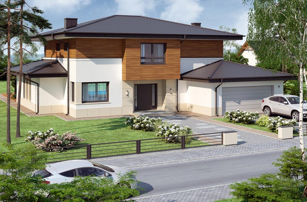 Дизайн одноэтажного дома 278м2 с мансардой общий вид