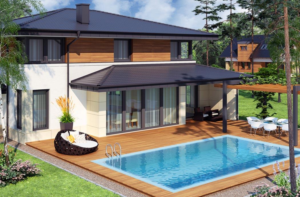 Дизайн одноэтажного дома 278м2 с мансардой задний вид с бассейном