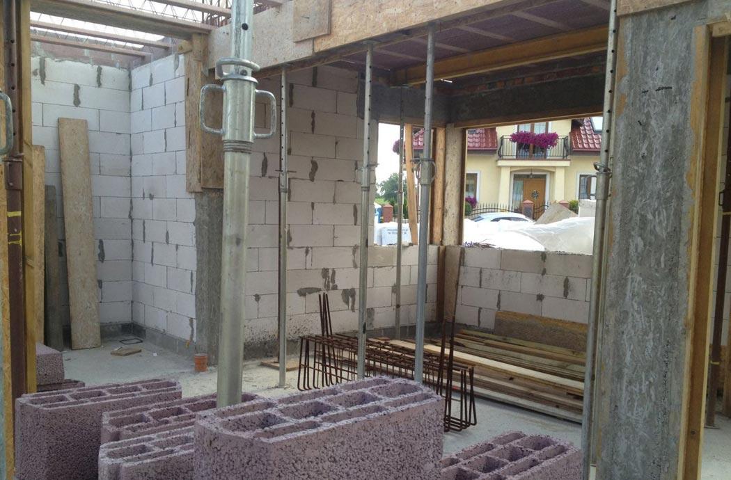 Строительство одноэтажного дома, площадью 278 м2, этап строительства гостинной