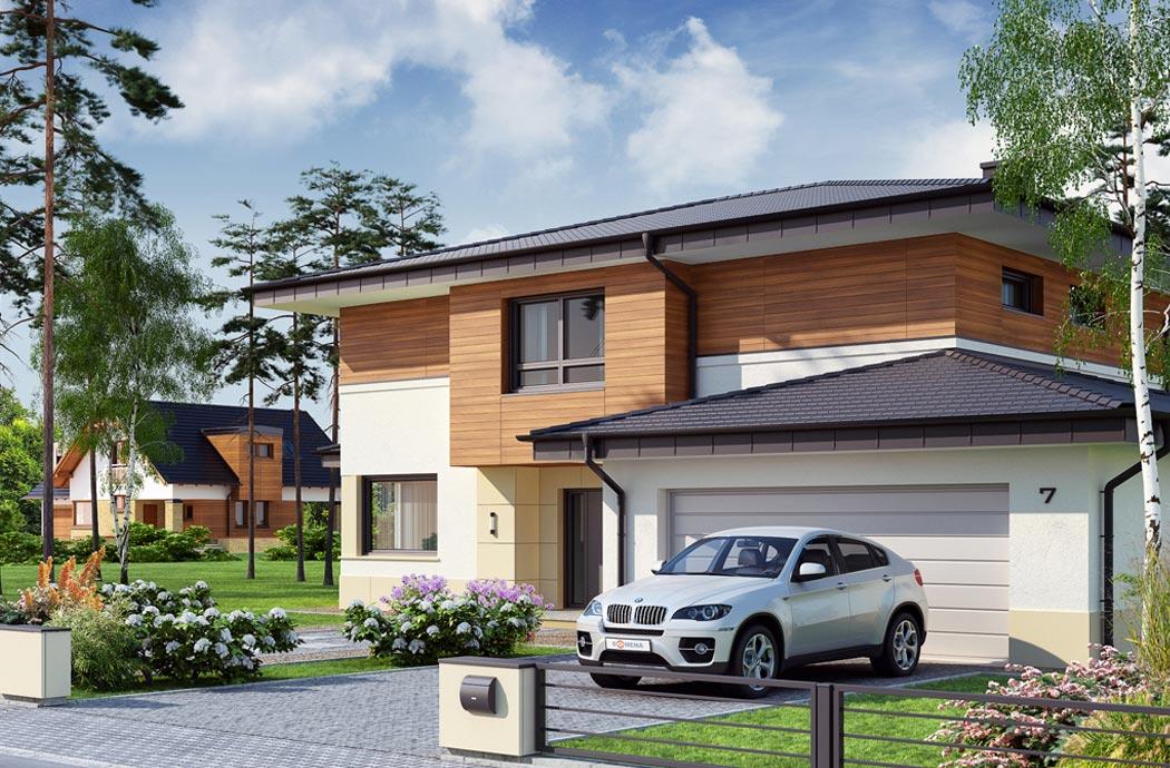 Дизайн одноэтажного дома 278м2, общий вид на гараж