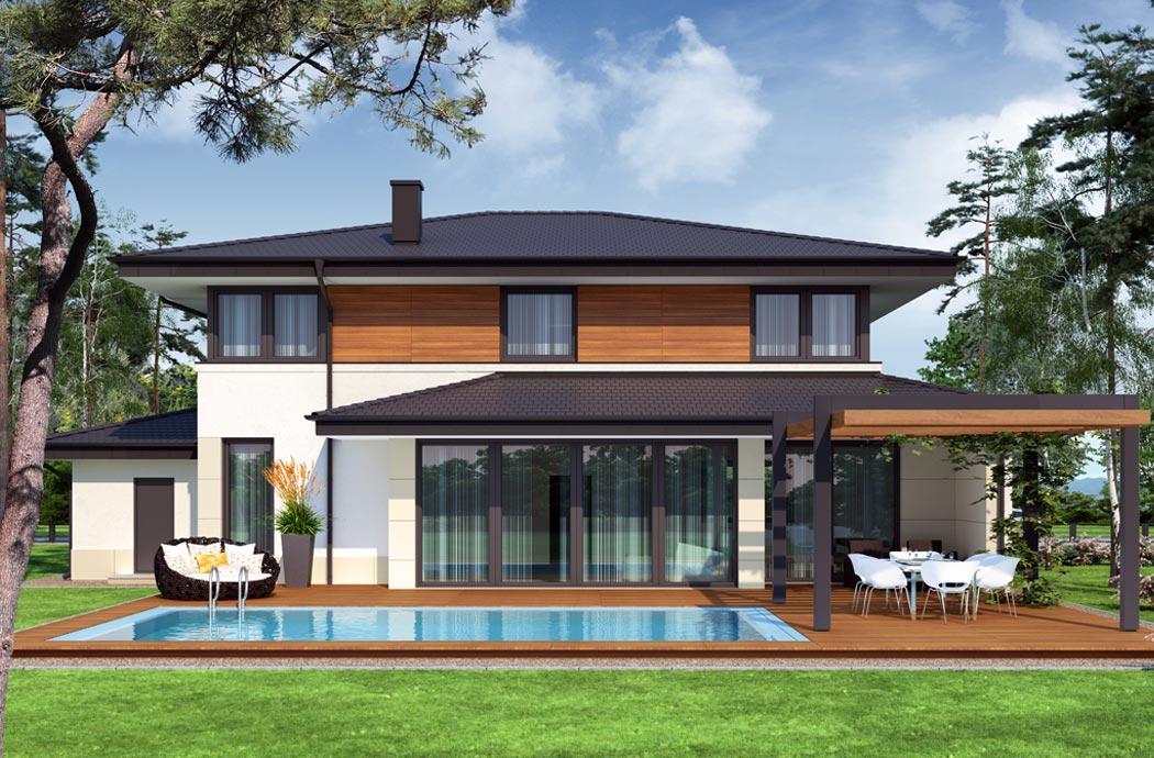 Дизайн одноэтажного дома 278м2, общий вид сзади и бассейна