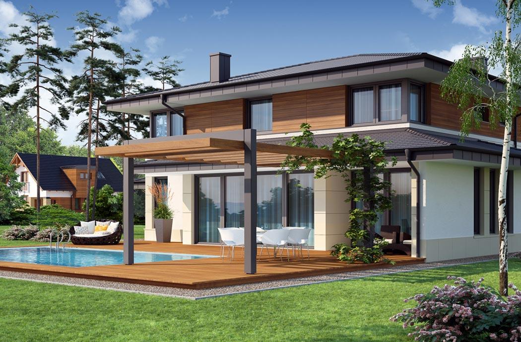 Дизайн одноэтажного дома 278м2, вид сзади