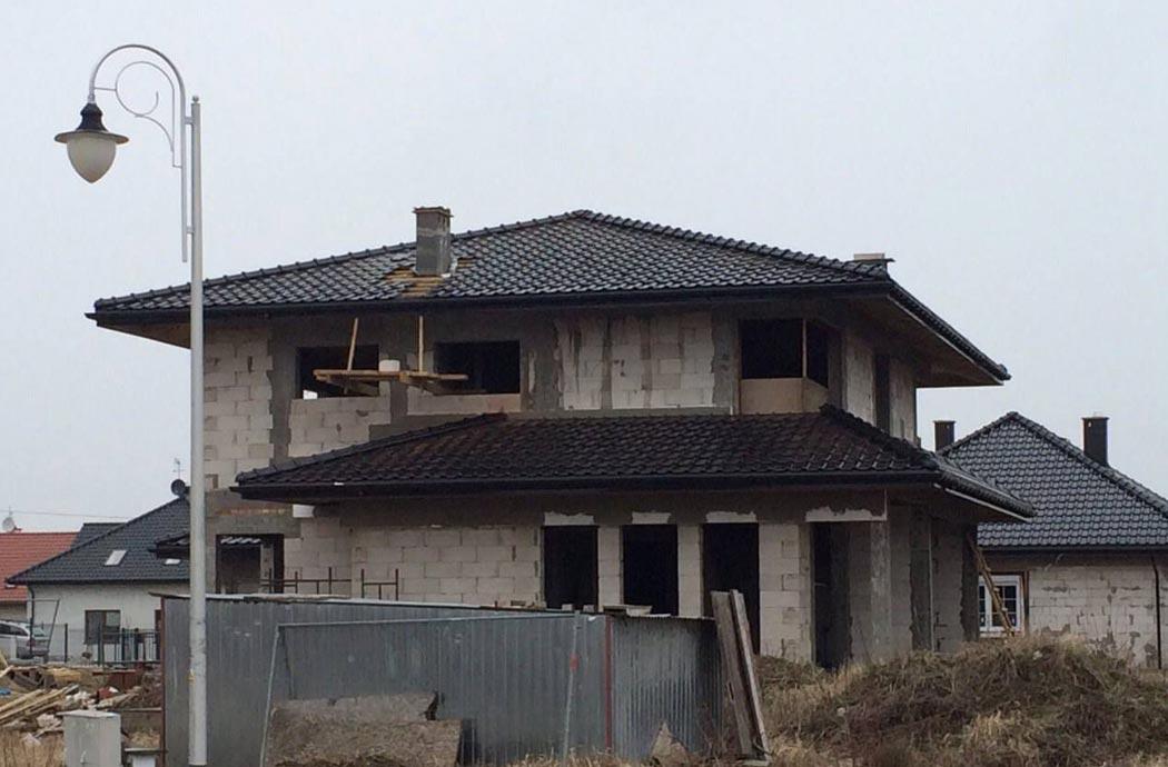 Строительство одноэтажного дома, площадью 278 м2, вид с улицы