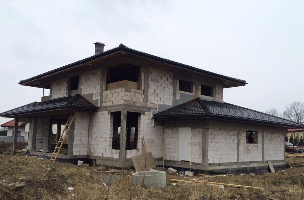 Строительство одноэтажного дома, площадью 278 м2, вид сбоку